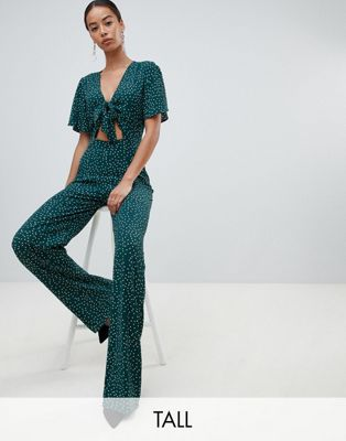 Fashion Union tall plunge front jumpsuit in spot print