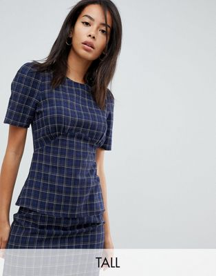 Image 1 of Fashion Union Tall Short Sleeve Top In Check