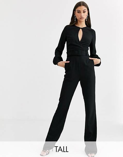 Fashion Union Tall velvet keyhole jumpsuit
