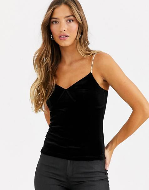 Fashion Union velvet cami top with rhinestone strap