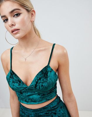 Image 1 of Fashionkilla cami crop top Two-piece in emerald velvet