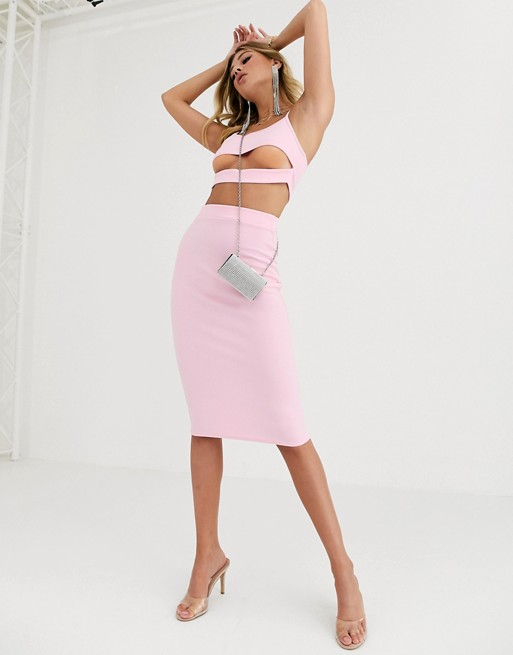 Fashionkilla - Gonna midi per uscire rosa