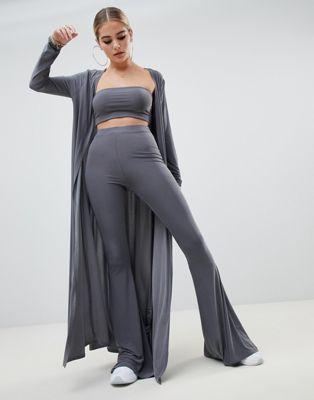 Fashionkilla maxi jacket Two-piece in gray