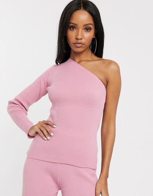 Fashionkilla – Różowy sweter na jedno ramię z dzianiny, część kompletu
