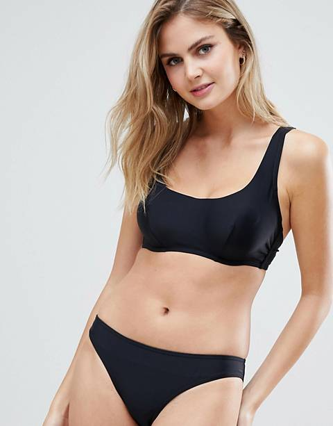 Figleaves Fuller Bust underwired crop bikini top in black