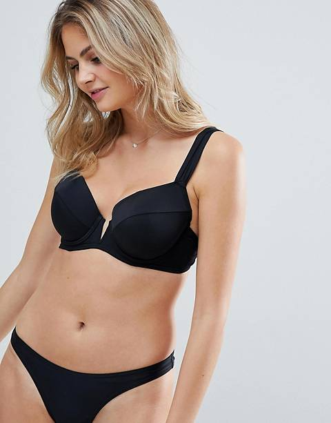 Figleaves Fuller Bust underwired v wire bikini top in black