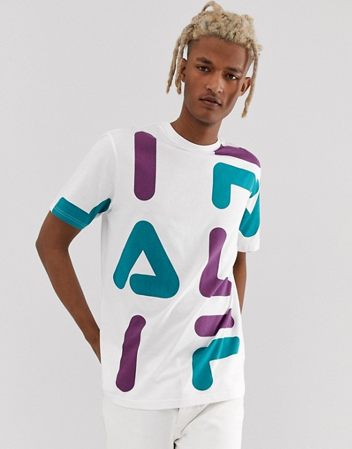 Image 1 of Fila Bennet t-shirt with all over logo print in white