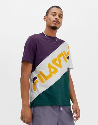 Fila Black Line Rowan Block Logo T-Shirt In Purple