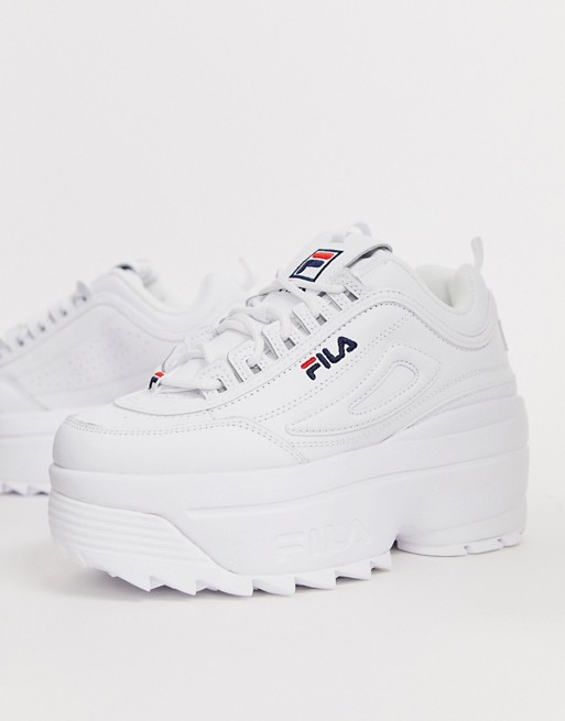 Fila Disruptor II platform wedge sneakers in white