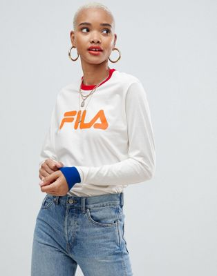 Fila long sleeve relaxed t-shirt with contrast trims and grpahic front logo print