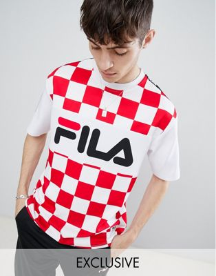 Image 1 of Fila oversized team t-shirt with taping in white