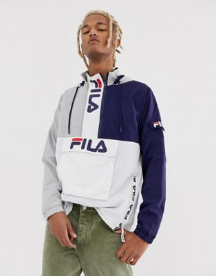 Image 1 of Fila Parallax colour block overhead with branded zips in grey