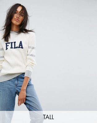 Image 1 of Fila Tall Ribbed Sweater With Contrast Stripe And Logo Detail