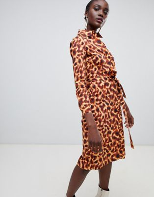 Image 1 of Finery Hobart cheetah print shirt dress