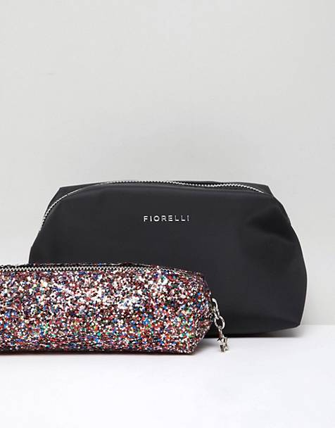 Fiorelli Adaline black makeup bag with multi glitter brush bag