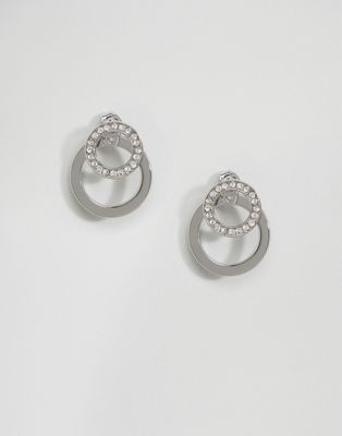 Fiorelli Pave Circle Front Back Earrings (+)