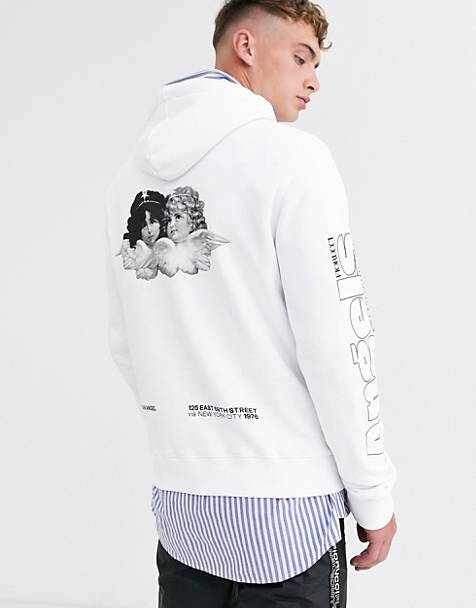 Fiorucci hoodie in white with angels back print
