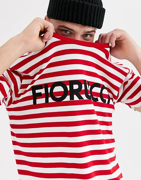 Fiorucci oversized stripe t-shirt in red with logo