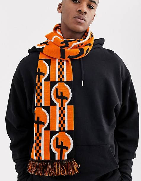 Fiorucci racer scarf in black and orange