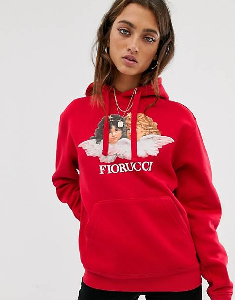 Fiorucci vintage angels hoodie in red