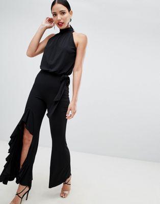 Image 1 of Flounce London high neck wide leg jumpsuit in black