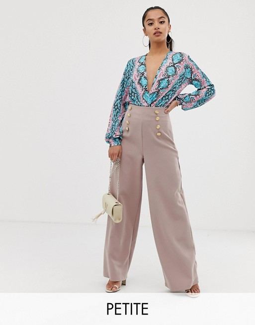 Image 1 of Flounce London Petite wide leg tailored trouser with gold button detail in soft pink