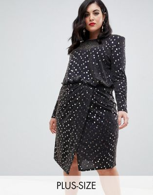 Image 1 of Flounce London Plus midi dress with statement shoulder in gold metallic