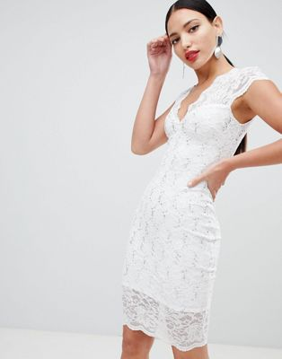 Flounce London scalloped sequin lace midi dress with cap sleeve in white