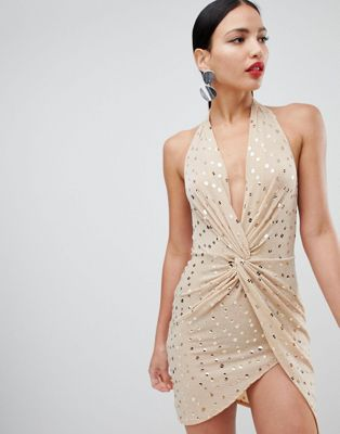 Flounce London sequin mini dress with twist front in nude