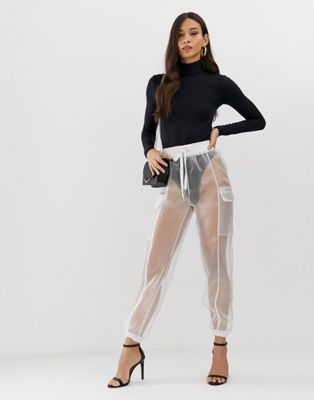 Image 1 of Flounce London sheer organza combat trousers in white