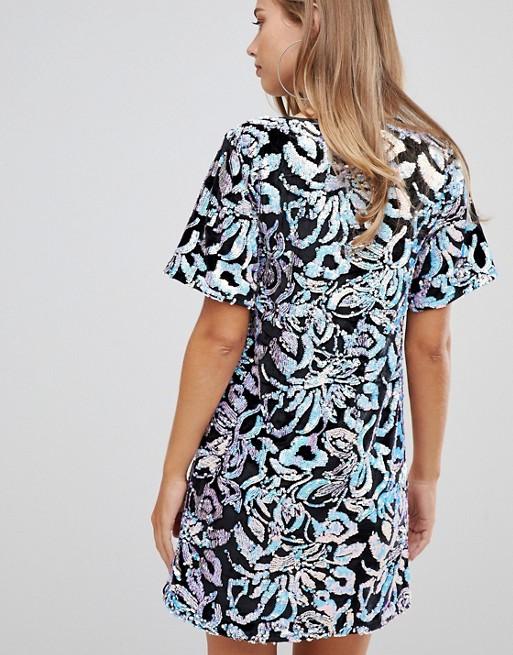 903cae9f2d9 Flounce London velvet T shirt dress with iridescent sequin