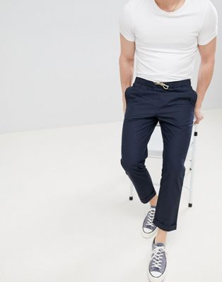 FoR Poplin Trousers With Drawstring In Navy