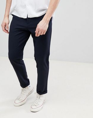FoR Smart Textured Trousers In Navy