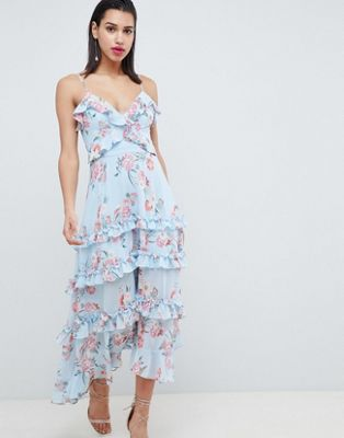 Forever New Floral Printed Maxi Dress with Tie Back