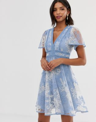 Image 1 of Forever New lace embroidered skater dress in blue