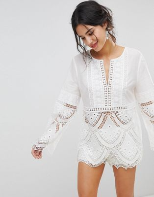 Forever New Lace Scallop Top