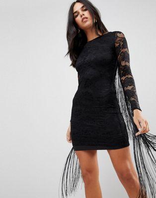 Forever Unique Lace Dress With Tassle Detail