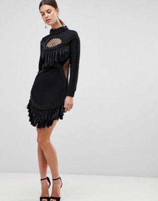 Forever Unique - Robe courte à bordure frangée