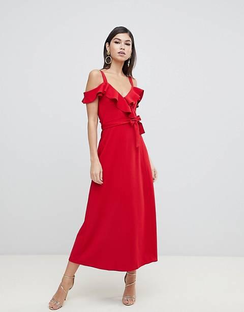 Forever Unique ruffle cold shoulder midi dress