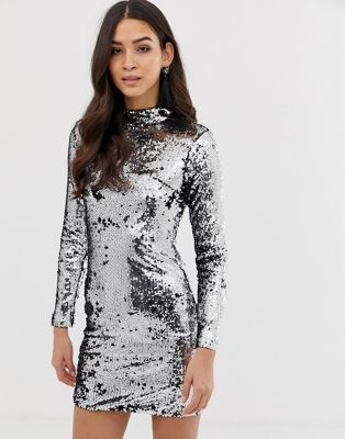 Image 1 of Forever Unique sequin long sleeve dress