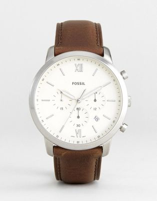 Fossil FS5380 Neutra Chronograph Leather Watch In Brown