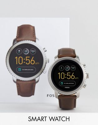 Fossil Q FTW4003 Explorist Leather Smart Watch In Brown