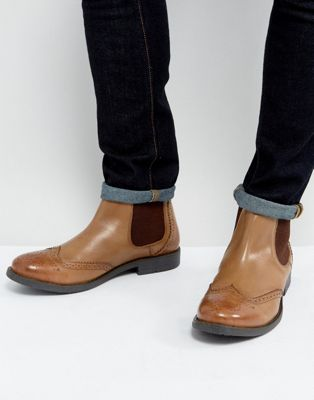 Frank Wright Brogue Chelsea Boots Tan Leather