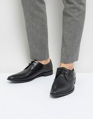 Buy Men Shoes / Asos Derby Shoes In Grey Leather