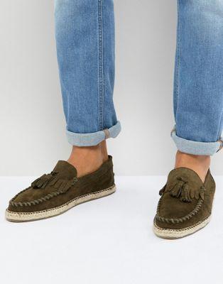Frank Wright - Espadrilles pianta larga scamosciate kaki con nappe