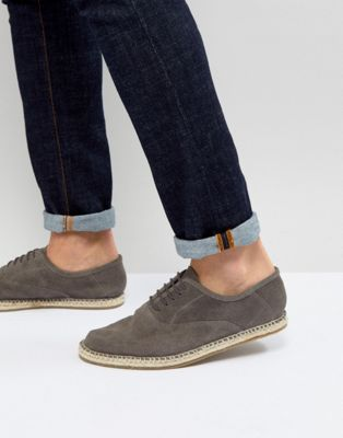 Frank Wright Lace Up Espadrilles In Grey Suede