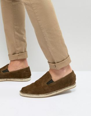 Frank Wright Slip On Espadrilles In Khaki Suede
