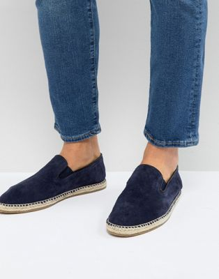 Frank Wright Slip On Espadrilles In Navy Suede