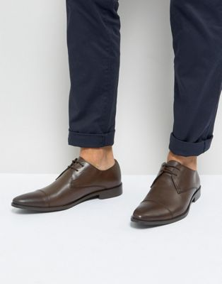 Frank Wright Toe Cap Derby Shoes In Brown Leather