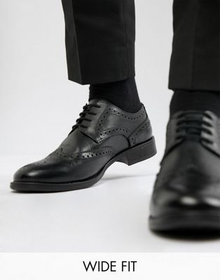 Frank Wright Wide Fit Brogues In Black Leather